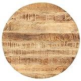 vidaXL Madera Maciza de Mango Superficie de Mesa Redonda Tablero Comedor Repuesto Salón Sala de Estar Oficina Mueble Encimera 25-27 mm 50cm