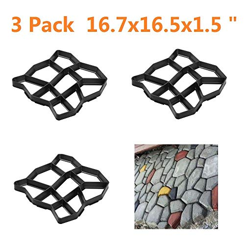 Yaheetech 3 PCS Recyclable Plastic Pathmate Walk Way Paver Concrete Stone Mould Paving Mold Black for Lawn/Garden/Patio Large Size 16.7 x 16.5 x 1.5 inch