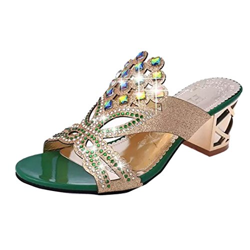 Sandaletten,SUCES Frauen Sommer Mode Sandaletten Damen Party Schuhe Bohemia High Heel Sandalen Abendschuhe Casual Sandalen Outdoor Schuhe Strandschuhe Schuhe Boden Hausschuhe (36, Green)