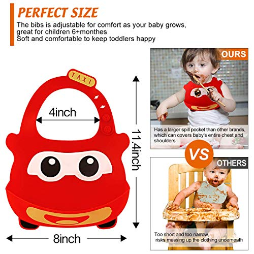 Baby Bibs Silicone Baby Fedding Bib Waterproof Baby Eating Bibs with Cute Pattern and Pocket Comfortable Soft Silicone for Baby Girl Bibs or Boy Toddlers Eating 6-72 Months 2-Pack (Red and Blue Car)