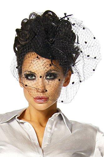 Haarschmuck mit Schleier für Kostüm Karneval Fasching oder Burlesque - an der Innenseite der Kappe mit 2 Haarklammern zu befestigen - Mini-Hut Fascinator A12145, Größe:onesize;Farbe:schwarz