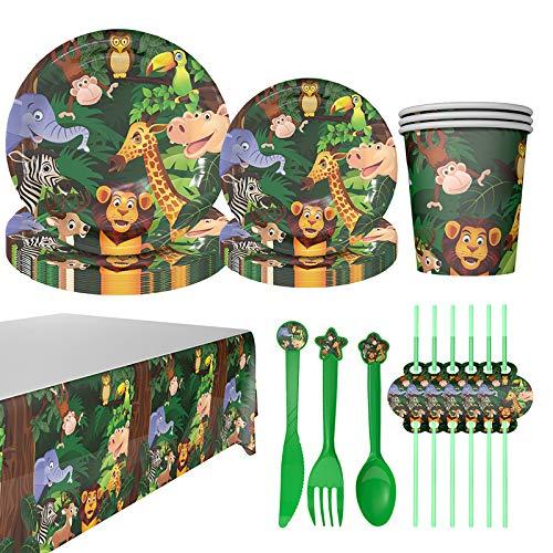 DreamJing Lieblings-Wald Themen Pappgeschirr für Kinder, 84Pcs *Dschungel* Party-Set mit 24 Teller, 12 Becher, 12 Stroh, 12 Messer, 12 Gabel, 12 Löffel, für 12 Personen