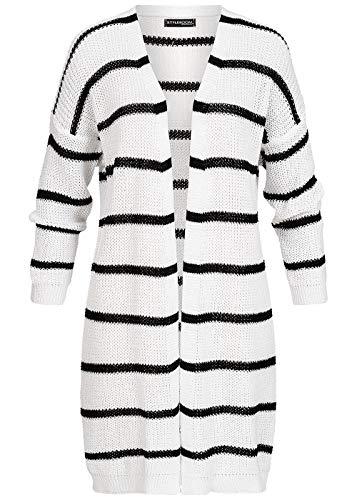 Styleboom Fashion® Damen Strickjacke Long Striped Cardigan offener Schnitt Weiss schwarz, Gr:M/L
