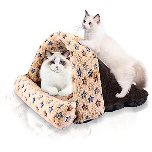 SABAN Cuccia per gatti, sacco a pelo per gatti e gatti, lavabile, sacco a pelo per gatti, lettiera per animali domestici, per gatti, cani, marrone, 40 x 45 cm