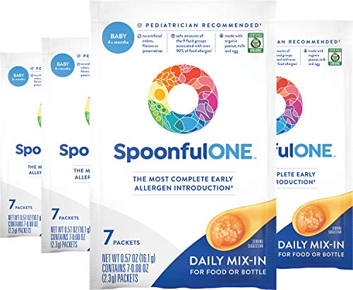 SpoonfulONE Food Allergen Introduction Mix-Ins | Smart Feeding for an Infant or Baby 4+ Months | Certified Organic (28 Packets)