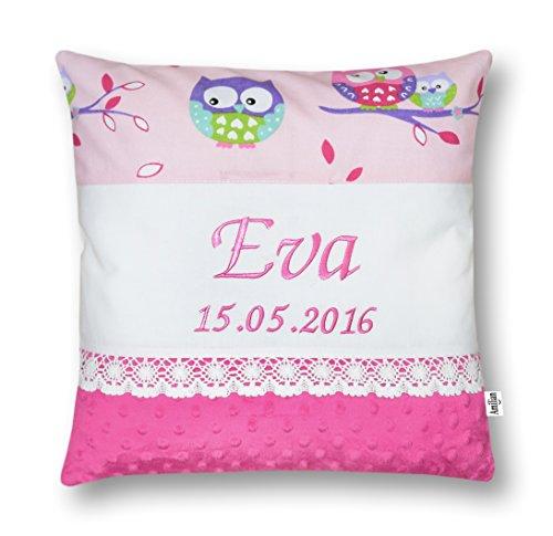 Amilian® Kissen 40 x 40 cm mit Namen Datum Eule rosa/ ROSA