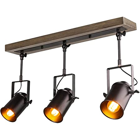 Lnc Adjustable Track Lighting Fixture Farmhouse 3 Heads Ceiling Spotlight For Kitchen Dining Living Room Foyer And Cloakroom Wall Wood Black Amazon Com