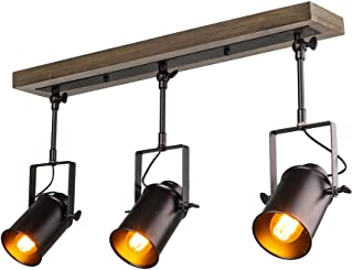 LNC A03185 Adjustable Track Lighting Industrial Wood Canopy 3-Head, for Ceiling and Wall
