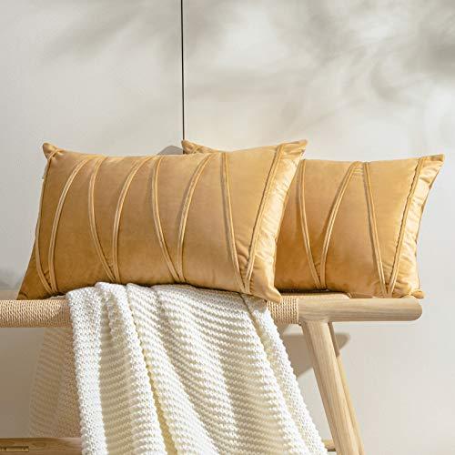 Topfinel 2 Juegos Hogar Cojines Terciopelo Suave Decorativa Almohadas Fundas de Color Sólido para Sala de Estar sofás 30x50cm Caqui