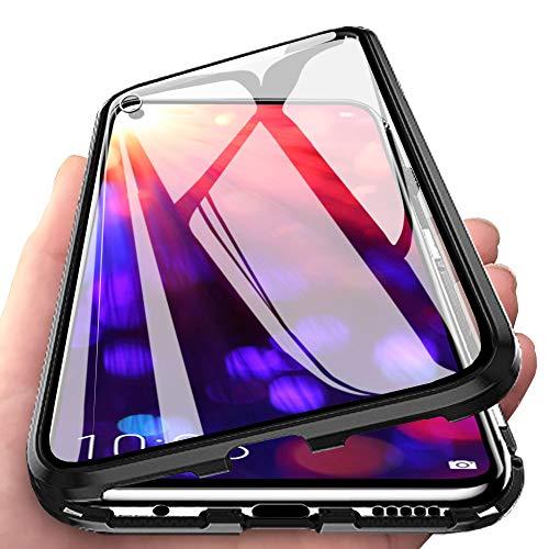 Huawei Honor View 20 Hülle, Vollbildabdeckung Gehärtetem Glas mit Magnetischer Adsorptionskasten Metall Rahmen 360 Grad Komplett Schutzhülle für Huawei Honor View 20 Schwarz