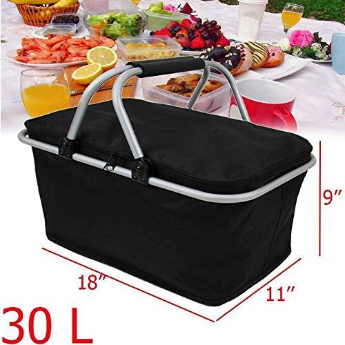 30L Folding Picknick-Beutel wandernd kampiert Insulated Lunch Bag Outdoor Picknick-Korb Cooler Hamper Portable Storage Box Black (Color : Black)