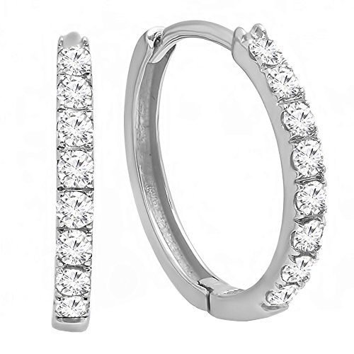 Dazzlingrock Collection 0.45 Carat (ctw) 14K Gold Round White Diamond Huggie Hoop Earrings 1/2 CT, White Gold