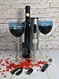 Bar Box Cordless Electric Wine Opener Set with Foil Cutter, Metallic Finish, Grey