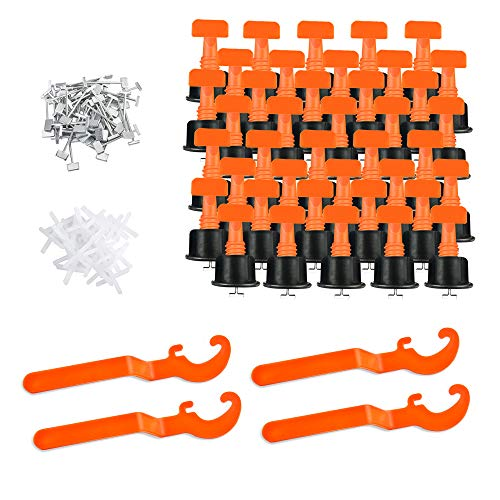 GAYISIC Tile Leveling System Kit,100pcs Tile Leveler Spacers,500pcs 2.0 mm Tile Spacer, 4 Special Wrenches and 100pcs Replaceable Steel Pins Ceramic Tile Installation Tool for Walls Flooring