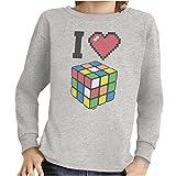 I Love Cube Rubik's Cube Long Sleeve Tee Boy Girl Sport Gray