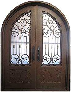 MCM3 Wrought Iron Entry Double Door,Aged Copper,8.34ft height,6.34ft Width