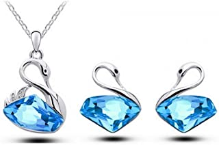3pcs/Set Shiny Crystal Jewelry Set - Classic Swan Pendant Gift Necklace & Earring Set