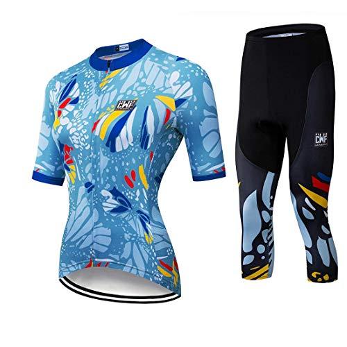 X-Labor Set composto da maglia da ciclismo da donna, a 3/4, a maniche corte, in jersey + pantaloni lunghi a 3/4 con imbottitura 3D, colore blu, taglia 3XL