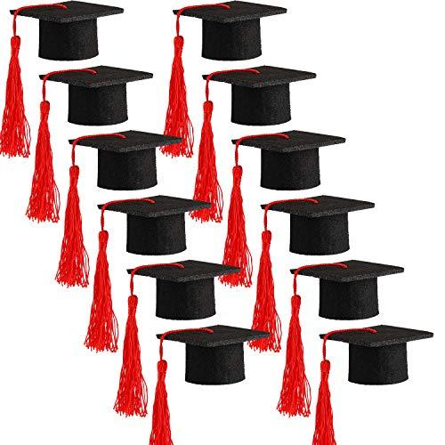 Hicarer 12 Stück Mini Abschlusskappen Abschlusskappe Flaschenaufsatz Bachelor Graduation Hut Form Party Dekorationen schwarz (rot)