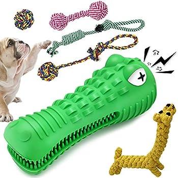 Jouet à mâcher pour chien combiné créatif Hightingale, jouet en corde de coton naturel 6 pièces, jouet à mâcher indestructible en forme de crocodile, jouet de nettoyage des dents de chien