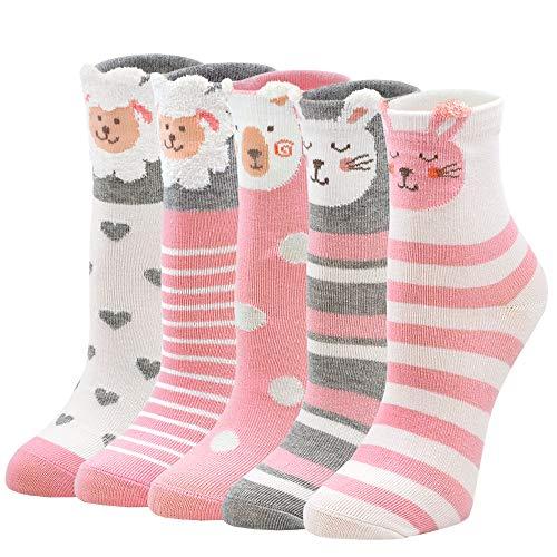 LOFIR Kinder Socken Mädchen Bunte Strümpfe aus Baumwolle Kleinkind Karikatur Niedliche Tier Socken Geschenk für Kinder Mädchen 8-11 Jahren, Größe 31-34, 5 Paare