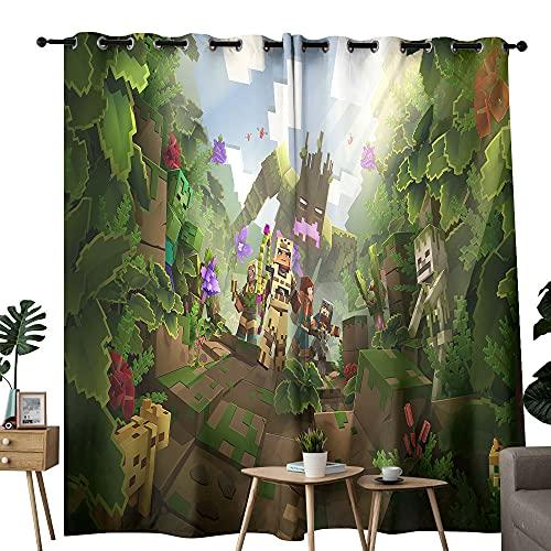 Cortinas impermeables Minecraft mazmorras de la selva despierta habitaciones aisladas se vuelven negras y cortinas opacas de 254 x 243 cm