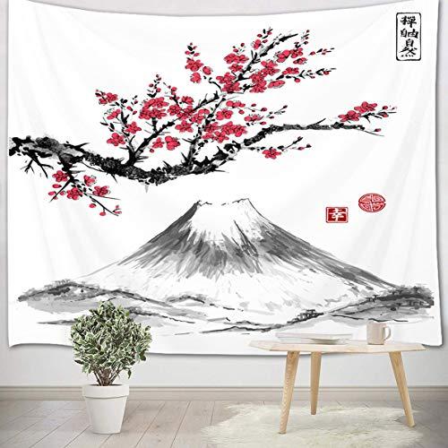 LB 150x100cm Tapiz de Pared Flor de cerezo rojo Colgar de Pared Montaña gris Tela Pared japonés Tapices para Sala Dormitorio Decoración Pared