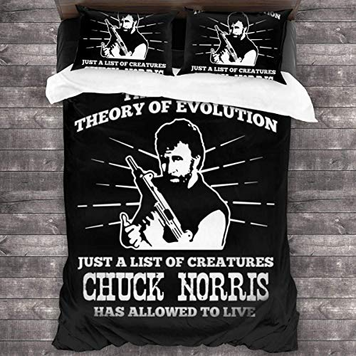 Popun Chuck Norris Theory of Evolution Quote Juego de Cama de 3 Piezas Funda nórdica, Juego de Cama Decorativo de 3 Piezas con 2 Fundas de Almohada