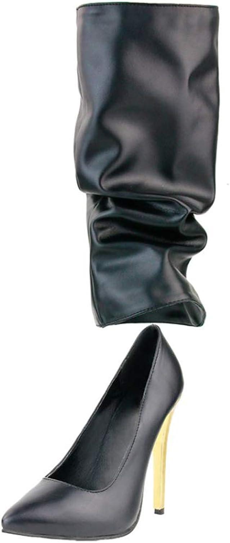 CASSOCK Women's Stiletto Dress shoes Handmade Slip-on Party Prom Fashion High Heels Pumps Black