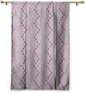 HCCJLCKS Bedroom Windproof Roman Blinds Mauve Zig Zag Stars Striped Pattern in Pastel Color Ranking Choice Kids Artsy Print Darkening and Thermal Insulating Yellow and Lilac W32 xL72