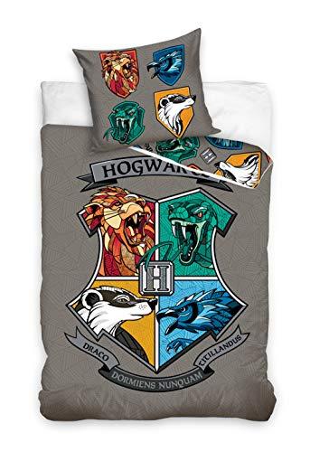 Harry Potter HP201041 - Juego de funda nórdica y funda de almohada (160 x 200 cm y 70 x 80 cm, algodón)