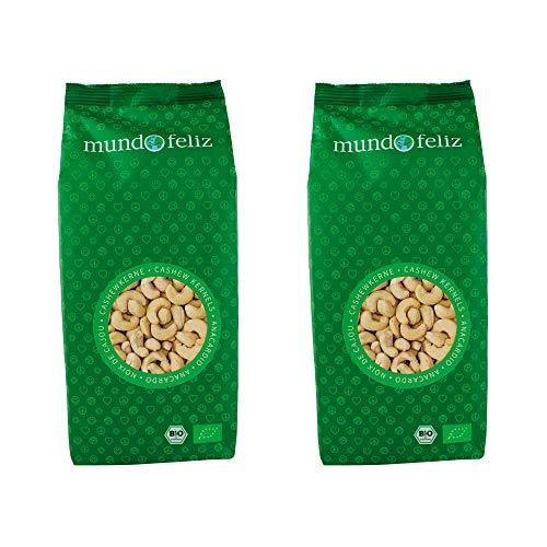 Mundo Feliz - Lot de 2sachets de noix de cajou bio entières, 2x500g