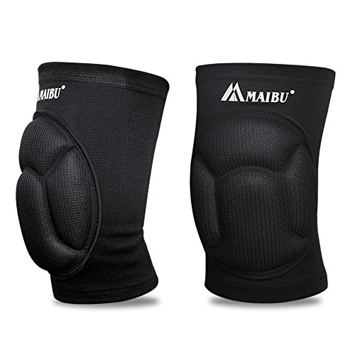 MAIBU 1 par de rodilleras antideslizantes para el alivio del dolor con almohadilla gruesa para evitar impactos para patinaje, danza o voleibol, mujer, negro