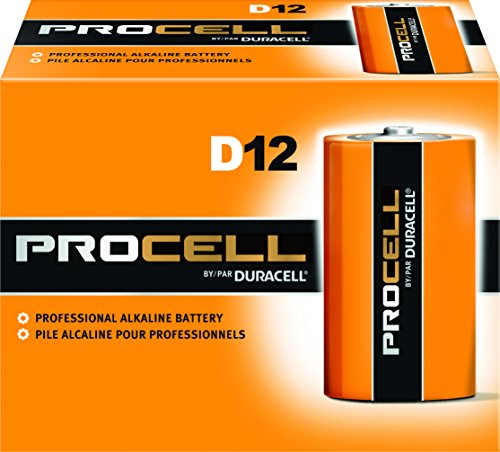 Duracell PC1300 Procell Alkaline-Manganese Dioxide Battery, D Size, 1.5V (Case of 72), Black