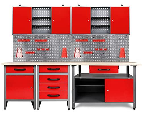 BJYX Werkstatt rot 240cm 3X Werkbank...