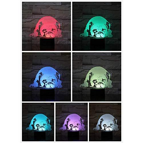 Pug Dog Night Light LED 3D Illusion 7 Color Changing Hoom Decorative Lamp Kids Baby Desk Lamp Bedside Gift