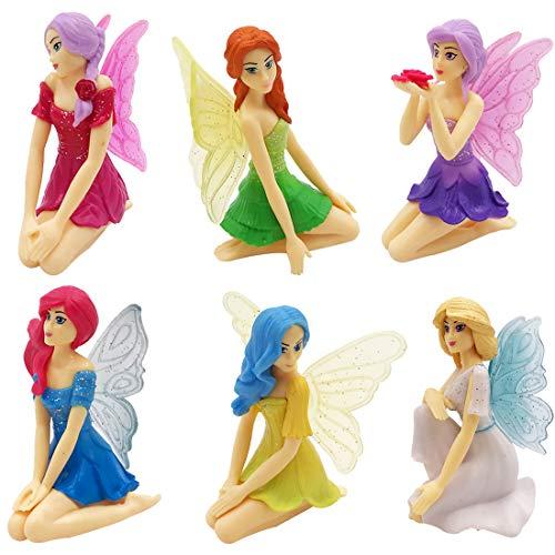 XCSW 6 Pcs Adornos en Miniatura , Mini Figura, Hermosa Chica con Alas ,Adorno de Jardín de Hada Miniatura Decoración Jardín