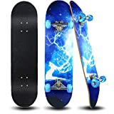 Easy_Way Complete Skateboards- Standard Skateboards for Beginners Kids Boys Girls Teenager- 31''x 8''Canadian Maple Cruiser Pro Skate Board, Skateboards