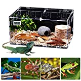 Reptile Breeding Box with Thermometer(11.1×7.8×5.9/14.9×9.8×7.8inch), Transparent Feeding Terrarium Tank for Spider Lizard Frog Cricket Turtle