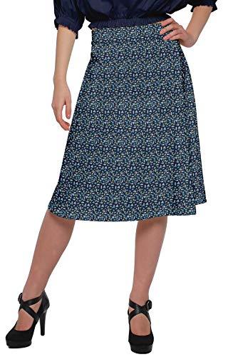 Moomaya Printed Skirt for Women Poly Spandex Casual Wear Summer Girls Skirt Denim Blue