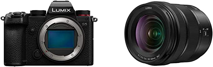Panasonic LUMIX S5 Full Frame Mirrorless Camera (DC-S5BODY) and LUMIX S 20-60mm F3.5-5.6 L Mount Interchangeable Lens (S-R...
