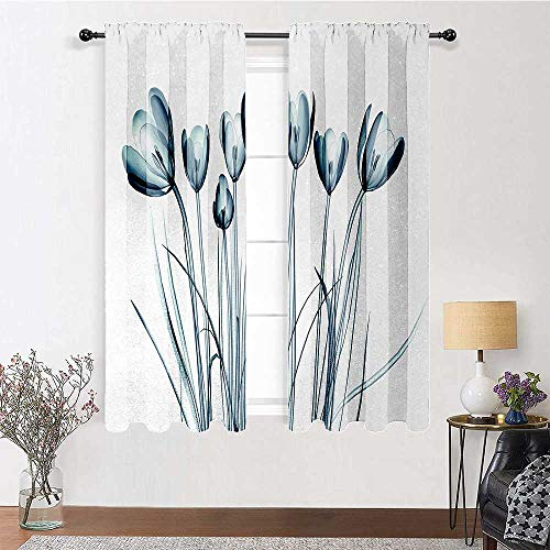 """Bedroom Curtain Flower Soundproof Window Curtain Panels X ray Transparent Image of Tulips Solarized Effects Nature Inspired Vision for Kids' Room, Highly Durable 2 Rod Pocket Panels, 42""""W x 54""""L"""