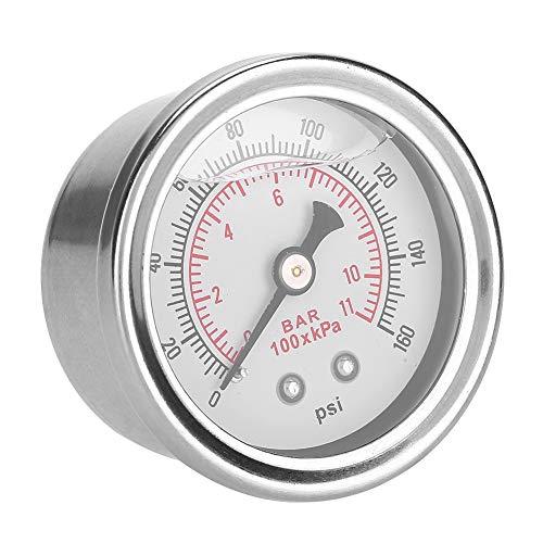 EVGATSAUTO Medidor de presión de llenado de líquido, 0-160 PSI/Bar Medidor de regulador de presión de Combustible de automóvil Medidor de Combustible/Aceite de llenado de líquido