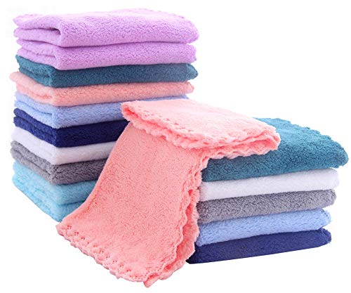 16 Pack Baby Washcloths  Luxury Multicolor Coral Fleece  Extra Absorbent and Soft Wash Clothes for Newborns Infants and Toddlers  Suitable for Sensitive Skin and New Born  Baby Shower