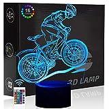 Comiwe Mountainbike Fahrrad 3D Illusion Nachtlicht Lampe Spielzeug,Dekoration LED Nachttischlampe 16 Farben Ändern mit Fernbedienung,Weihnachten Geburtstagsgeschenk Für Mädchen Jungen Kinder Freunde
