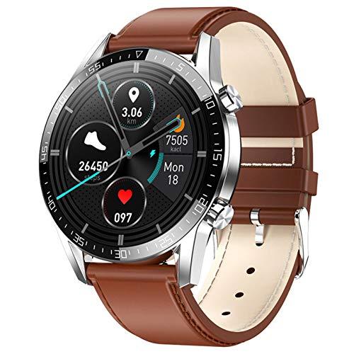 YNLRY Reloj inteligente para hombre, Android, resistente al agua, reloj inteligente, deportivo, para teléfono, iPhone, iOS, Huawei (color: cuero marrón)