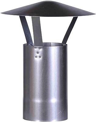 FIREFIX A130/RH Regenhut (verzinkt), Höhe 420 mm, ø 130 mm - für 0,6 mm Starke Ofenrohre, Silber