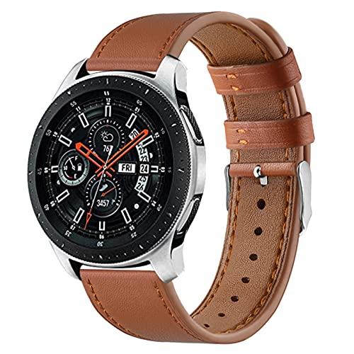 Gear S3 Bands, TechCode 22mm Bandas de Cuero Genuino Loop Correa de Repuesto Comercial de liberación rápida para Samsung Galaxy Watch 46mm/ Watch 3 45mm/TicWatch Pro 3 (Marrón)