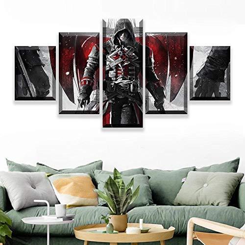 CHANGJIU- Assassins Creed Cuadro De Arte Abstracto -5 Piezas Cuadros Lienzo Decoracion Salon Modernos De Pared Lienzos Colgando Papel Pintado Murales Pintura Fotos Regalo