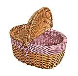 Weide Picknickkorb mit Deckel - Picknick Tragekorb leer / ohne Inhalt Henkelkorb - handlicher...